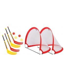 Funhockey Komplettset mit 2x2er Set Schläger und Pop-up Tor MAXI-Set